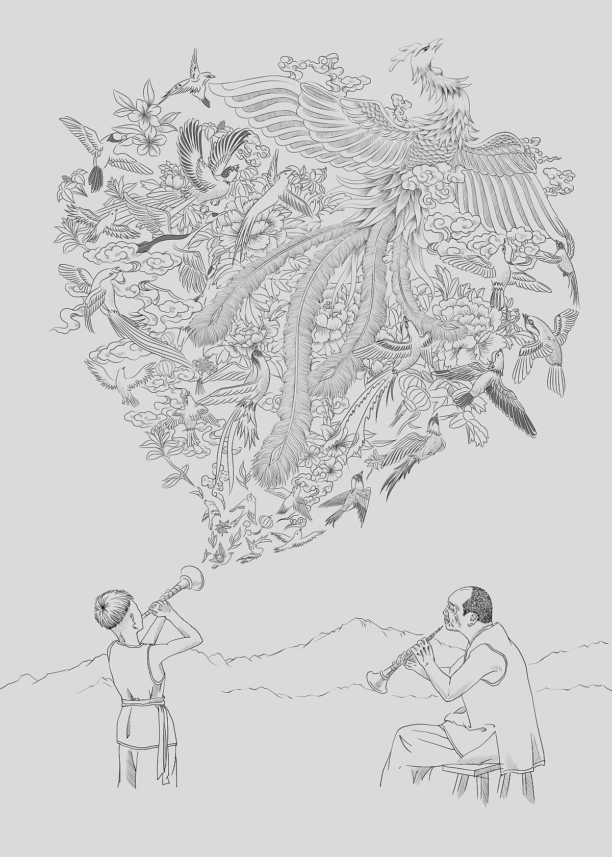 百鸟朝凤手绘版海报