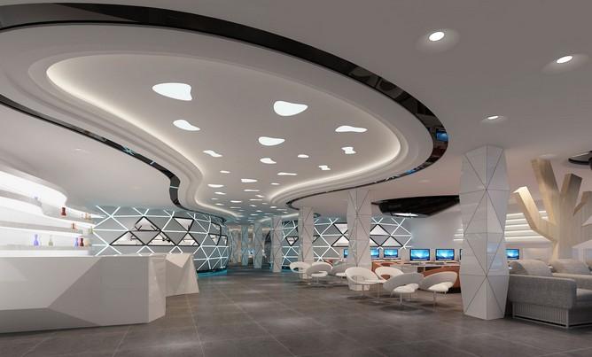 未来感网咖|一号网吧|成都网咖装修设计|室内设根据地形图绘制横断面图片