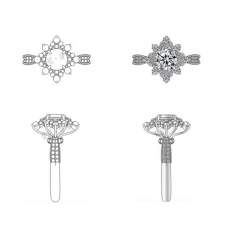 【梵尼洛芙】《绽放》求婚钻戒手绘设计  视觉艺术: 八爪放大支撑