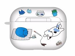 耳机盒UV印刷设计-蓝猫系列