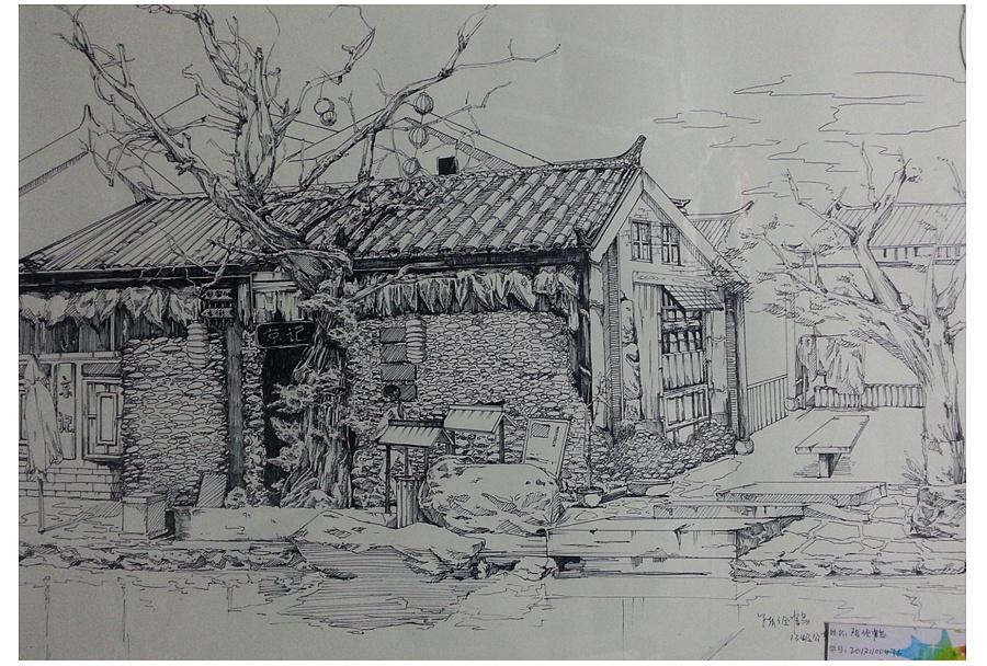 针管笔手绘|园林景观/规划|空间/建筑|大鹤手绘