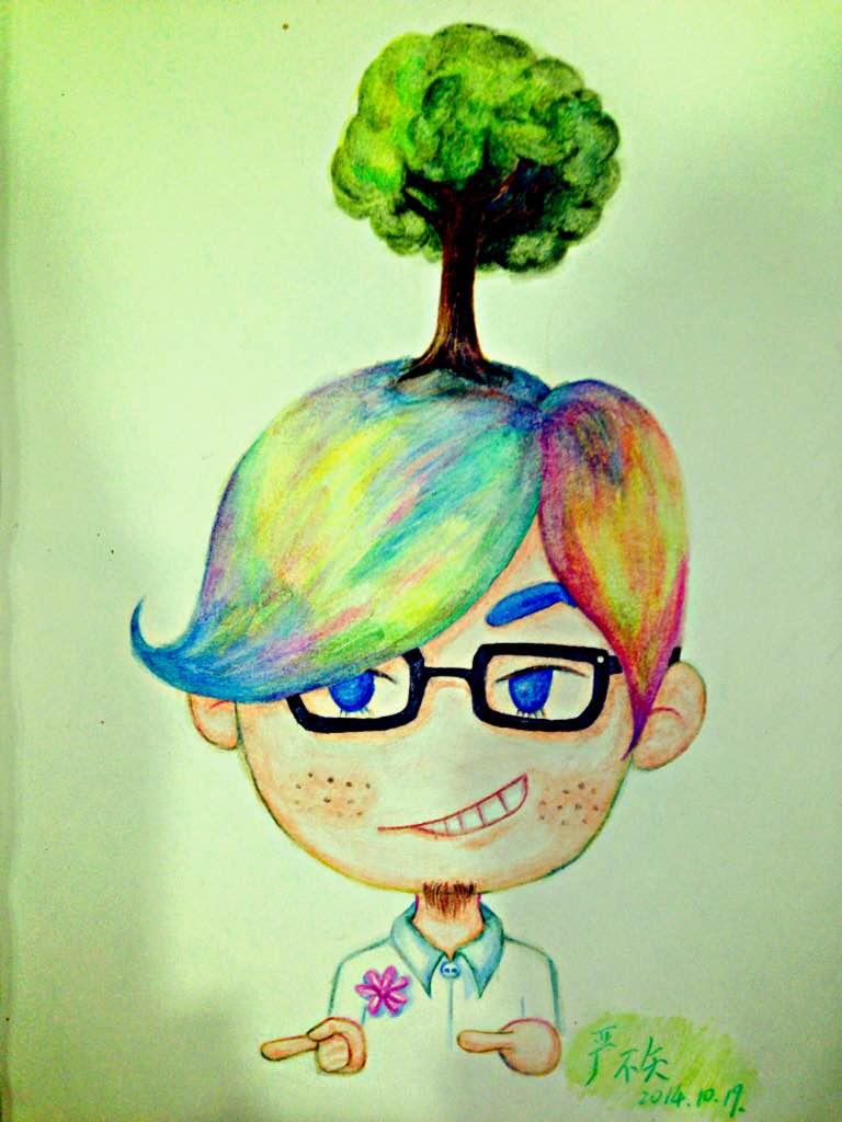 一对小人,彩虹头发,有自己的小世界却又能互相理解:)图片