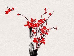 我的五幅国画梅花图习作