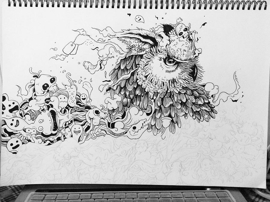 手绘线稿练习(二)|插画习作|插画|烟烟罗yy - 原创