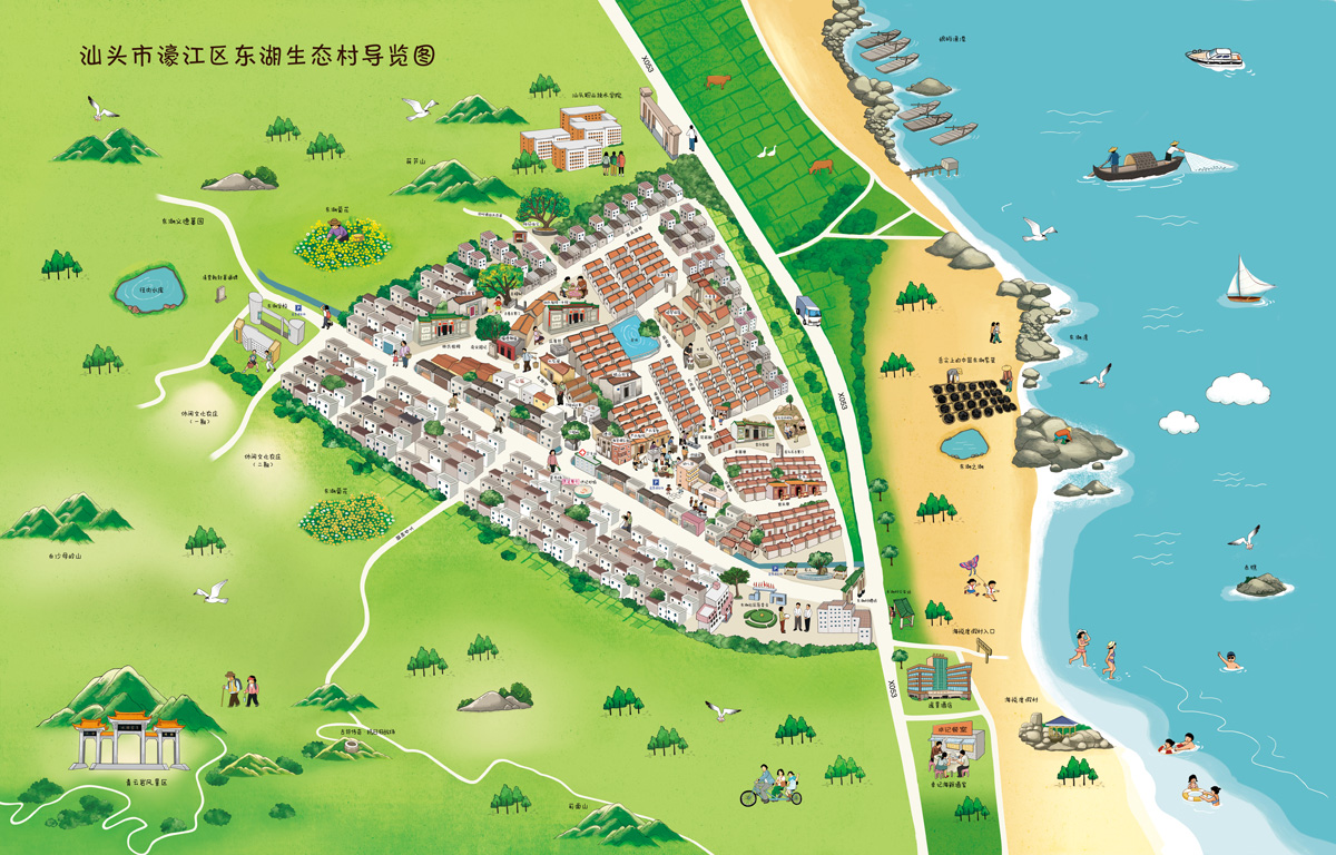 东湖村手绘地图