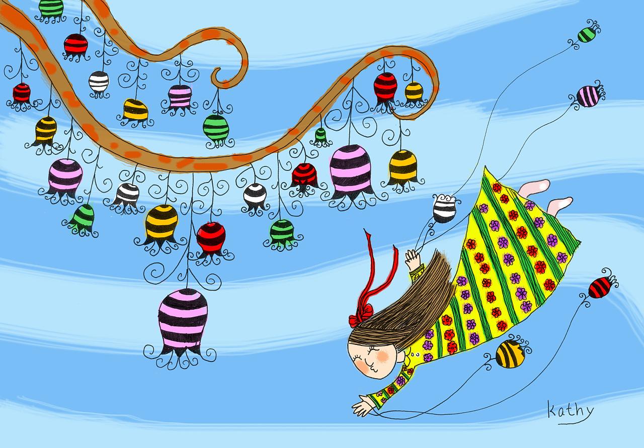 儿童插画手绘电脑上色的炫丽儿童少年插画作品少女风铃