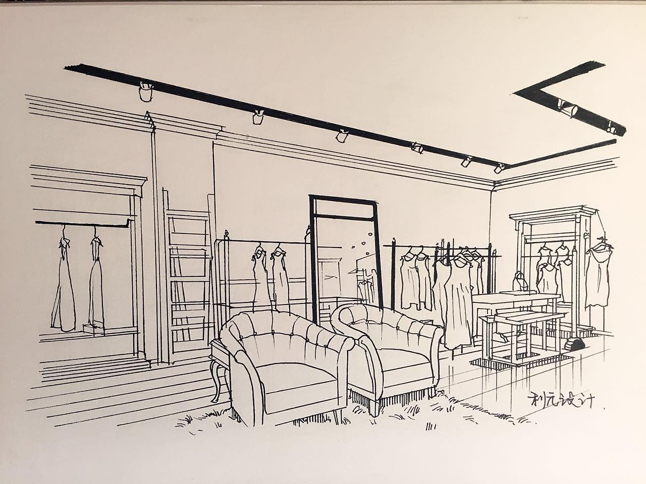 服装店手绘稿|空间|展示设计 |利元设计 - 原创作品