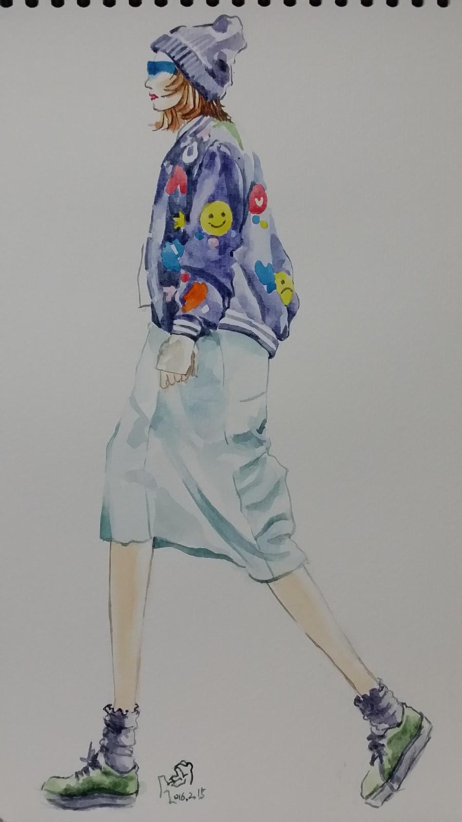 街拍手绘|休闲/流行服饰|服装|箐蛙 - 原创设计作品