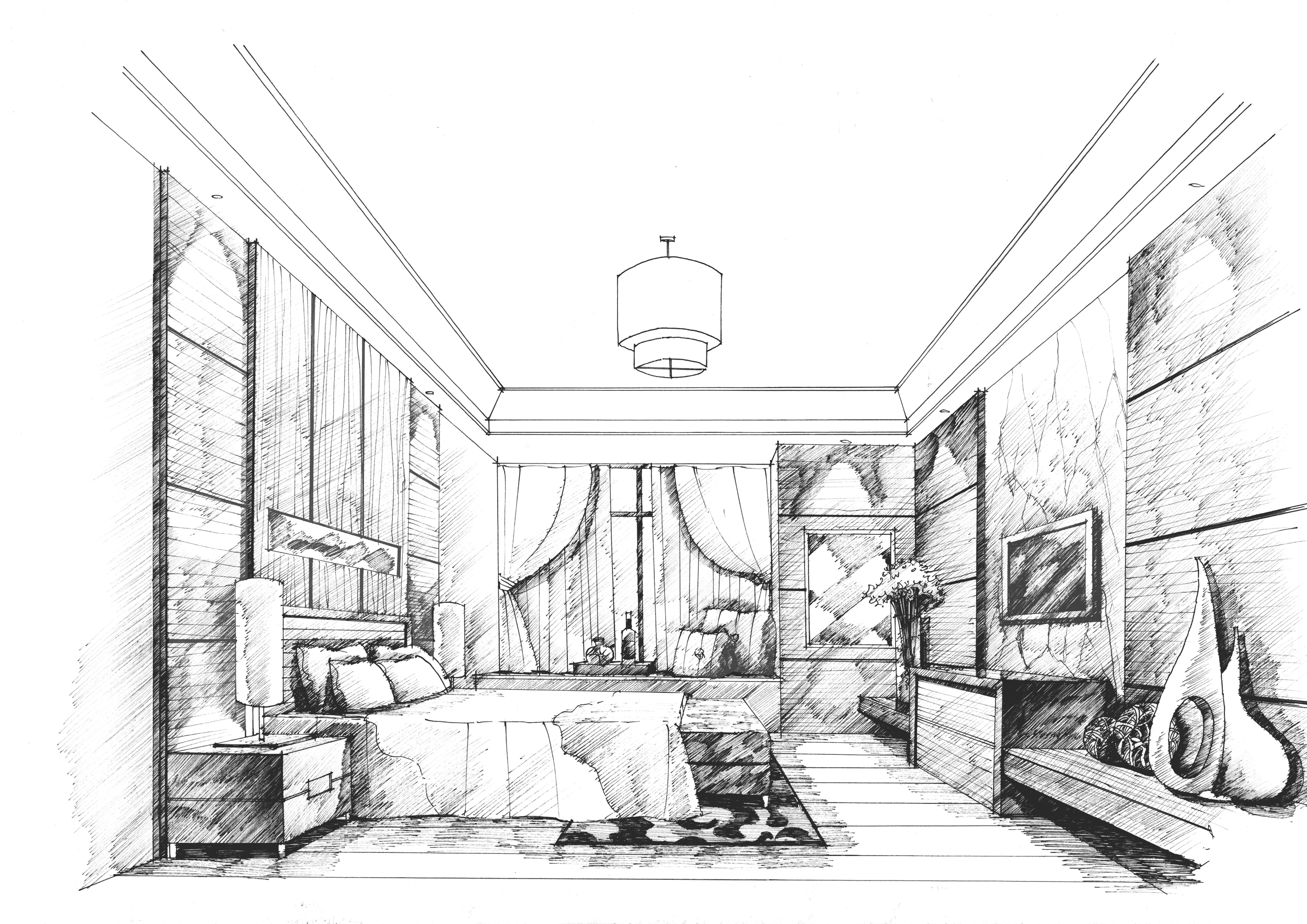 卧室手绘2|空间|室内设计|mhc绘 - 原创作品 - 站酷