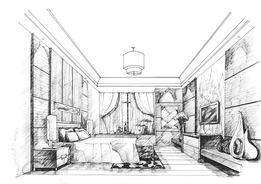 卧室手绘2|室内设计|空间/建筑|mhc绘