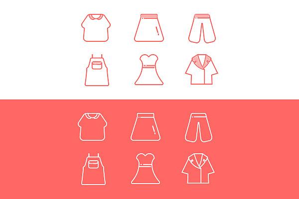 一组关于衣服的小图标