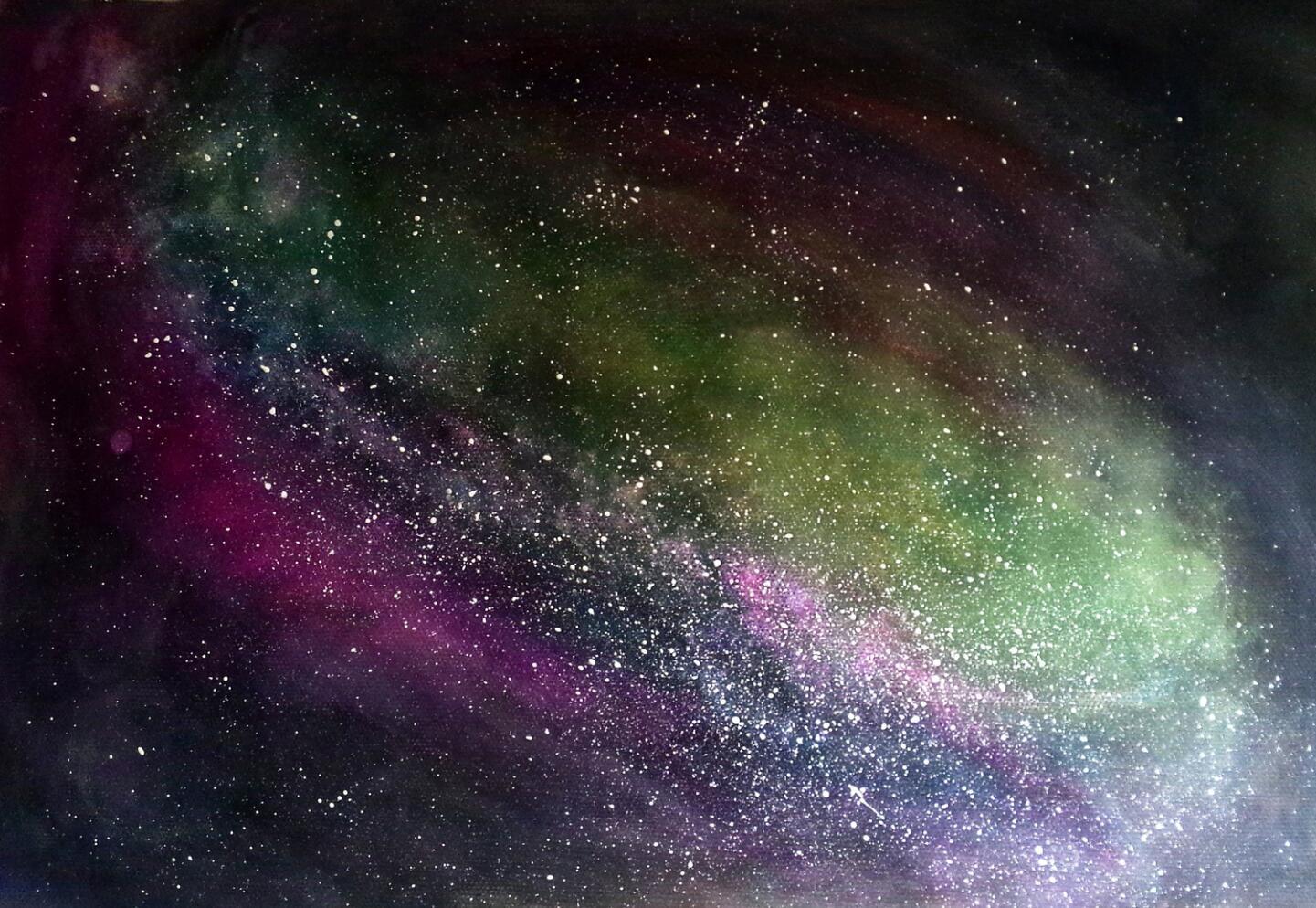手绘星空|纯艺术|水粉|飞奔的大长腿儿 - 原创作品