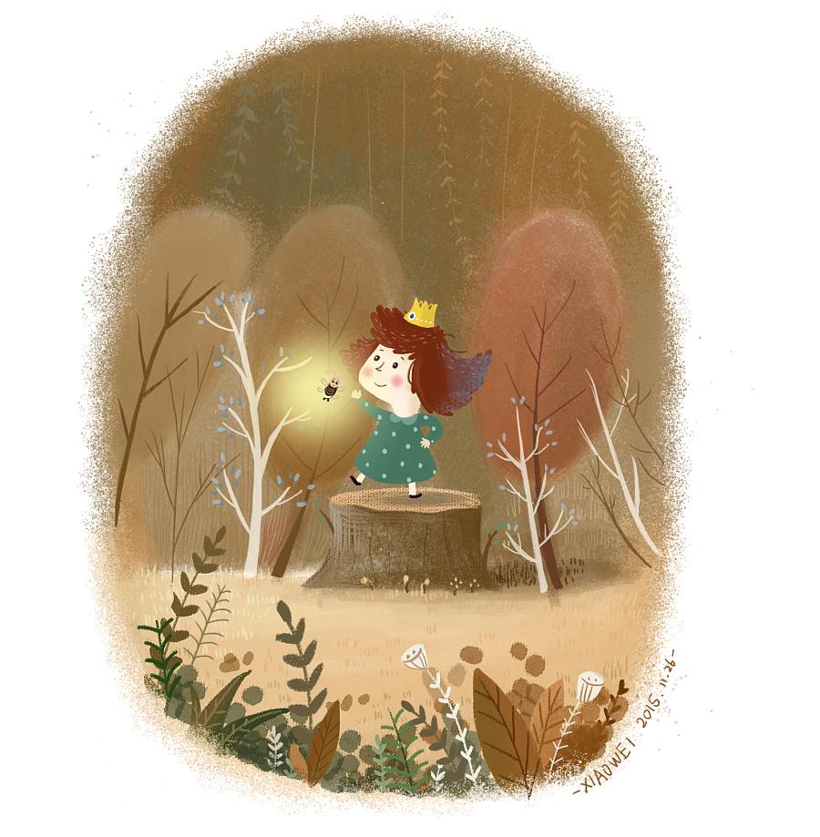 萤火虫|儿童插画|插画|言小薇 - 原创设计作品 - 站酷