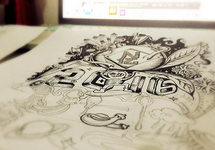 原创手绘涂鸦猴年新春贺卡