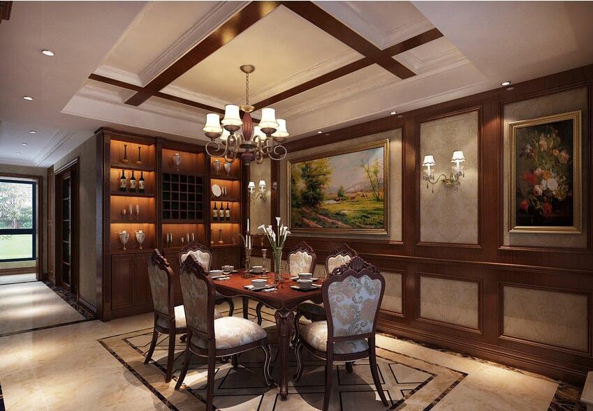 怡丰森林湖360平美式乡村风格别墅装修效果图欣赏