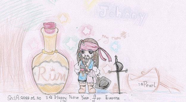 最爱的杰克船长彩铅手绘图图~ 绘画习作 插画 shia
