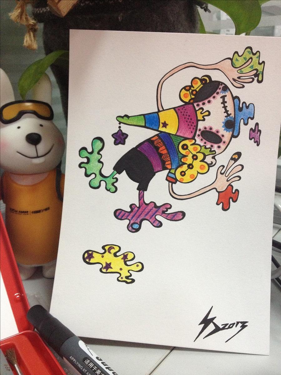 彩色铅笔手绘图案卡通漫画设计|商业插画|插画|mr