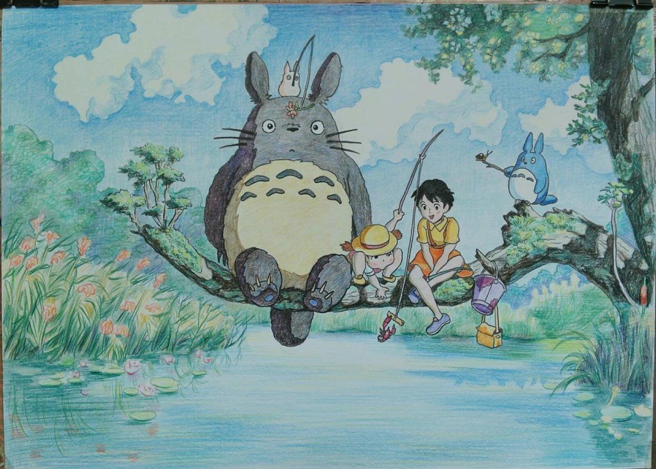彩铅龙猫手绘图片