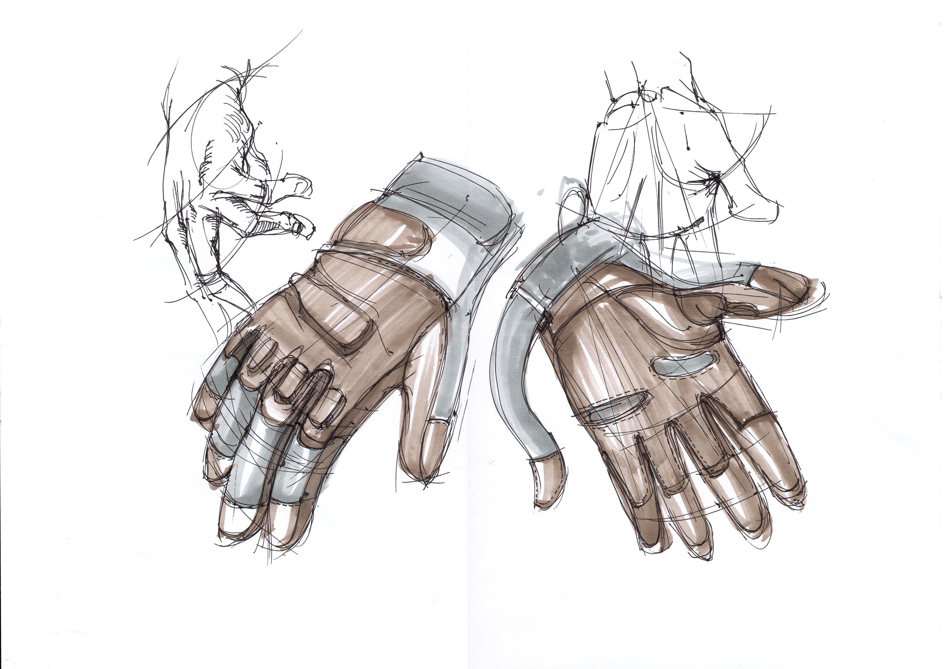 运动手套 产品设计手绘线稿与上色