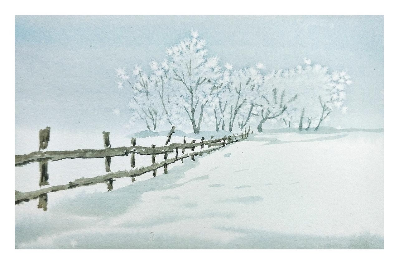手绘水彩风景明信片