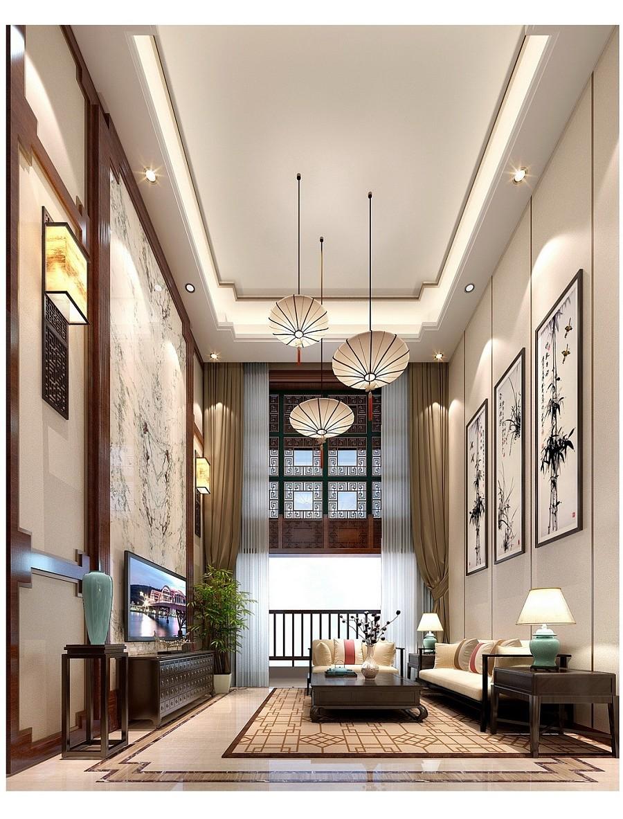 恒大金碧天下别墅装修设计|现代新中式别墅室内设计效果图