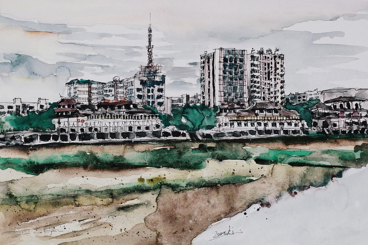 水彩手绘我的家乡-四川广汉
