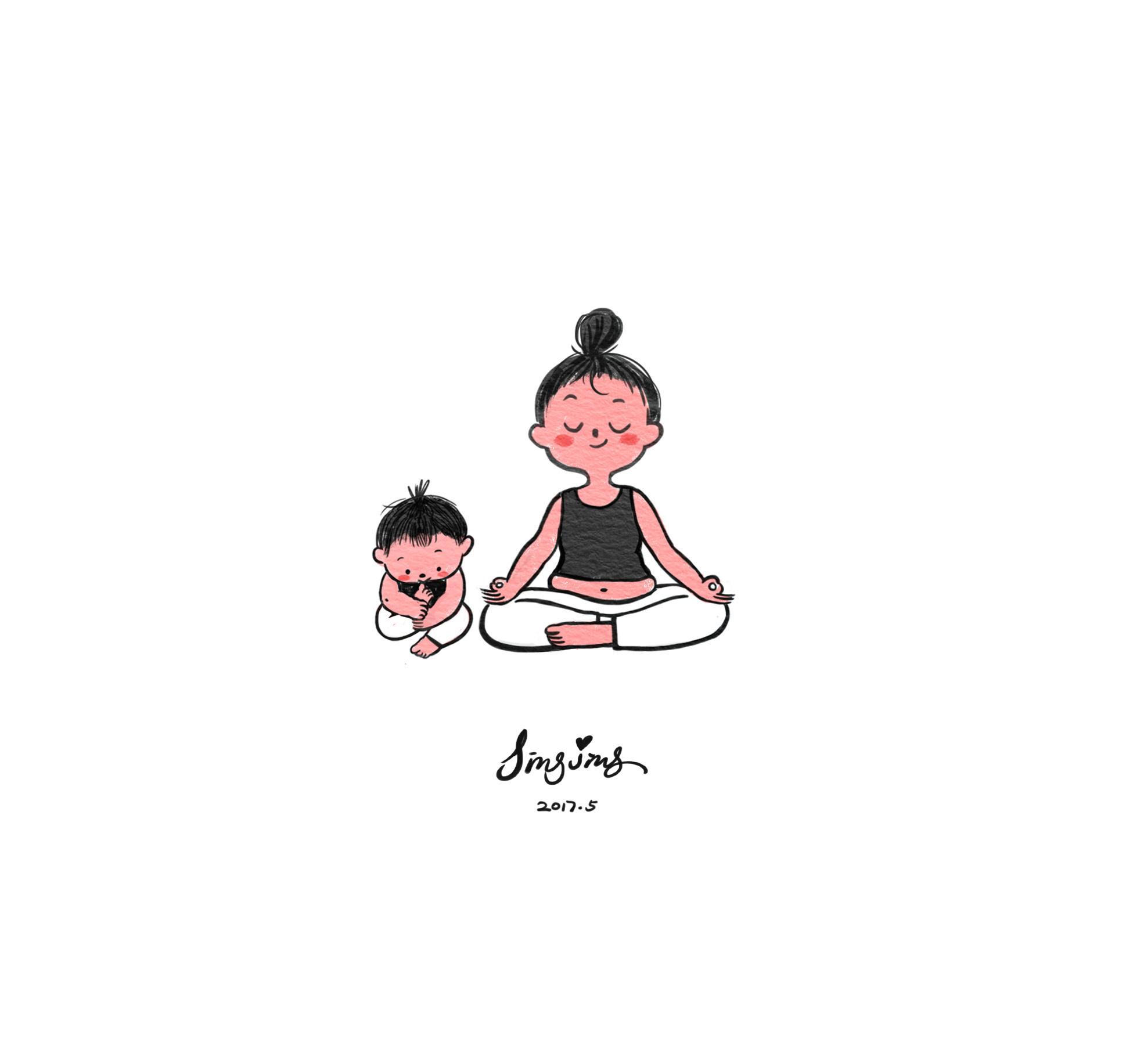 瑜伽手绘卡通头像