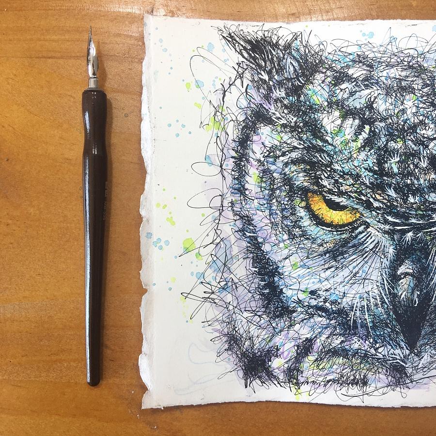 蘸水笔尝试--猫头鹰 钢笔画 纯艺术 丁一ONEAR