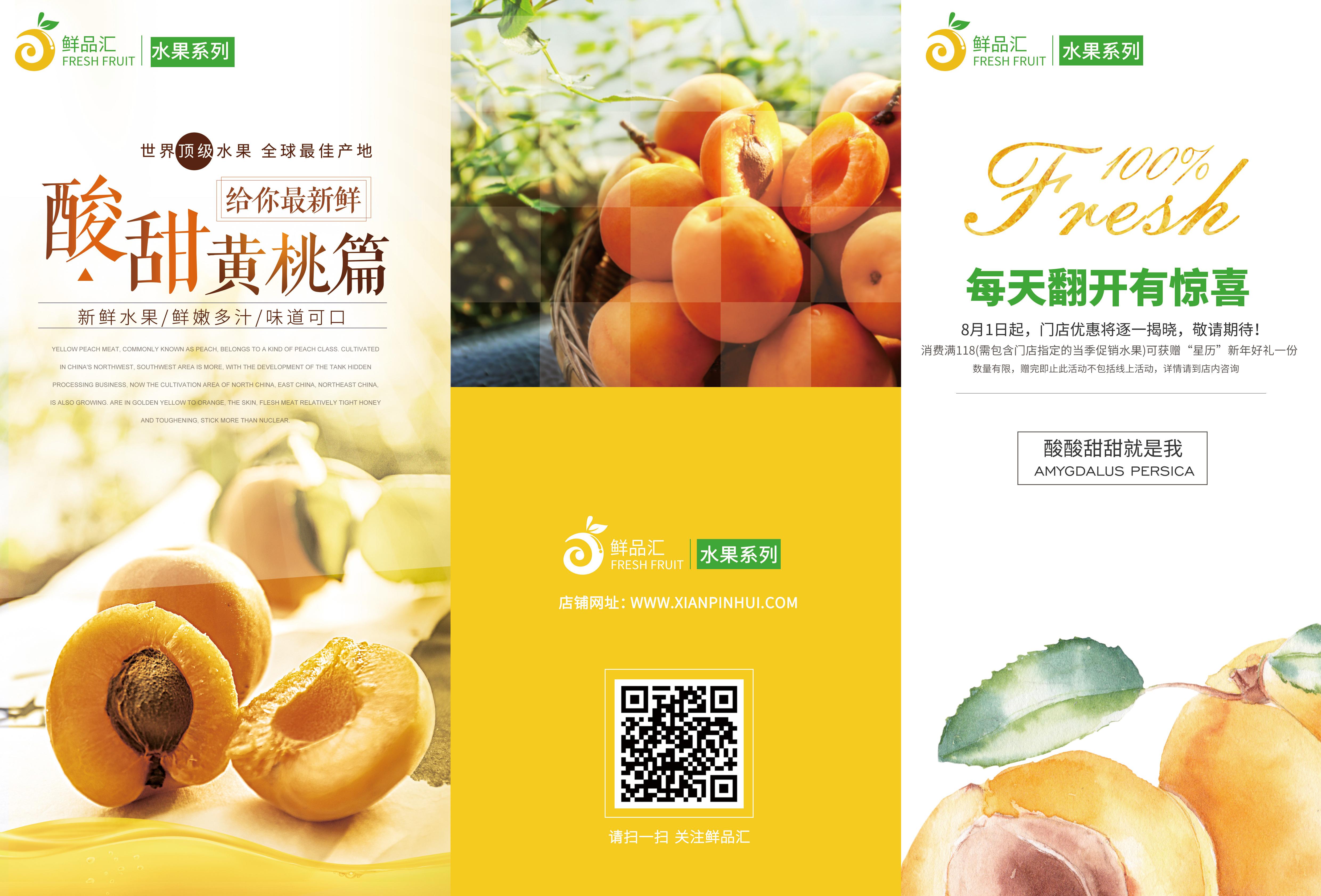 水果篇-黄桃-三折页封面设计图片