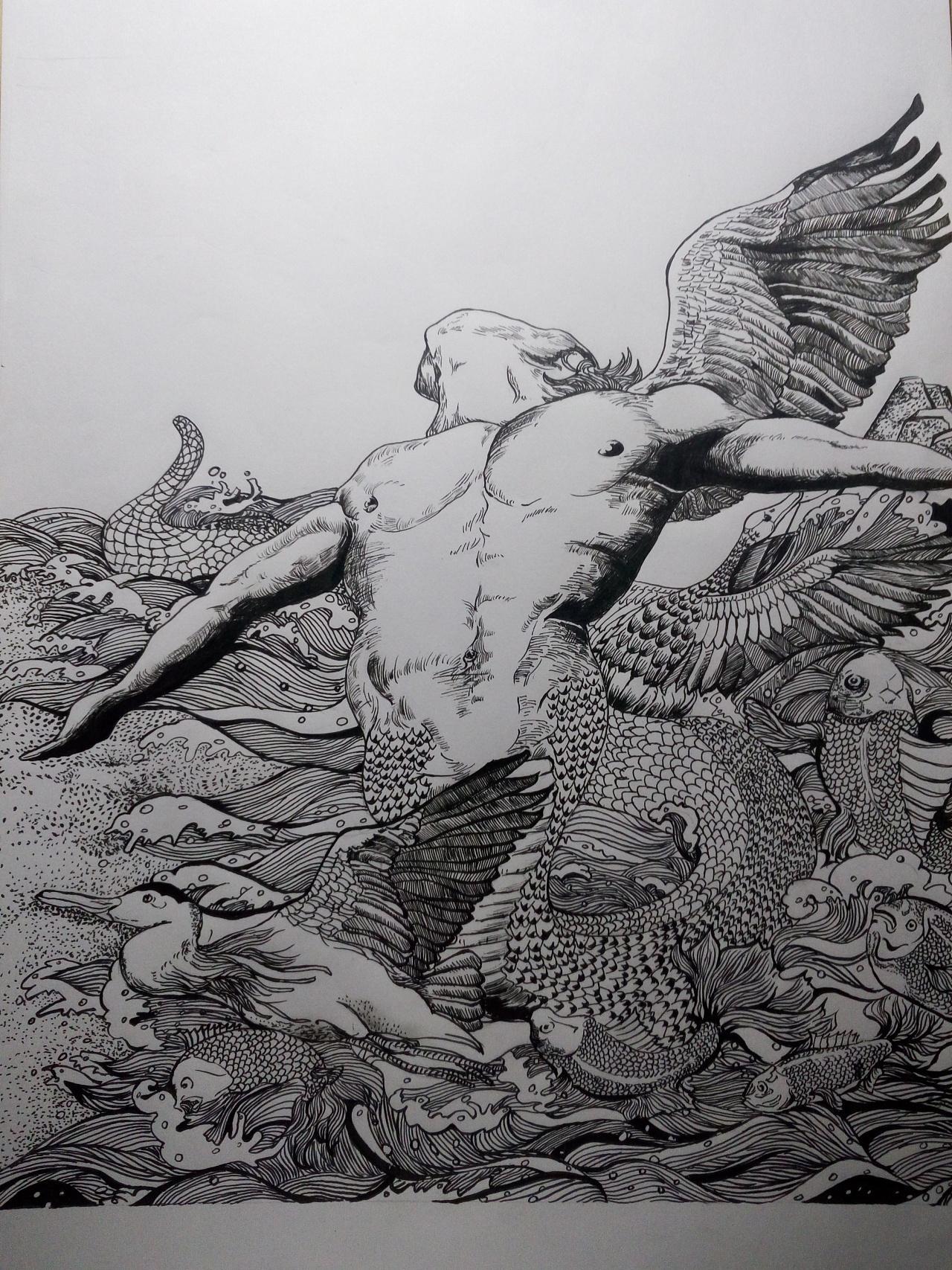 手绘 临摹黑白装饰画