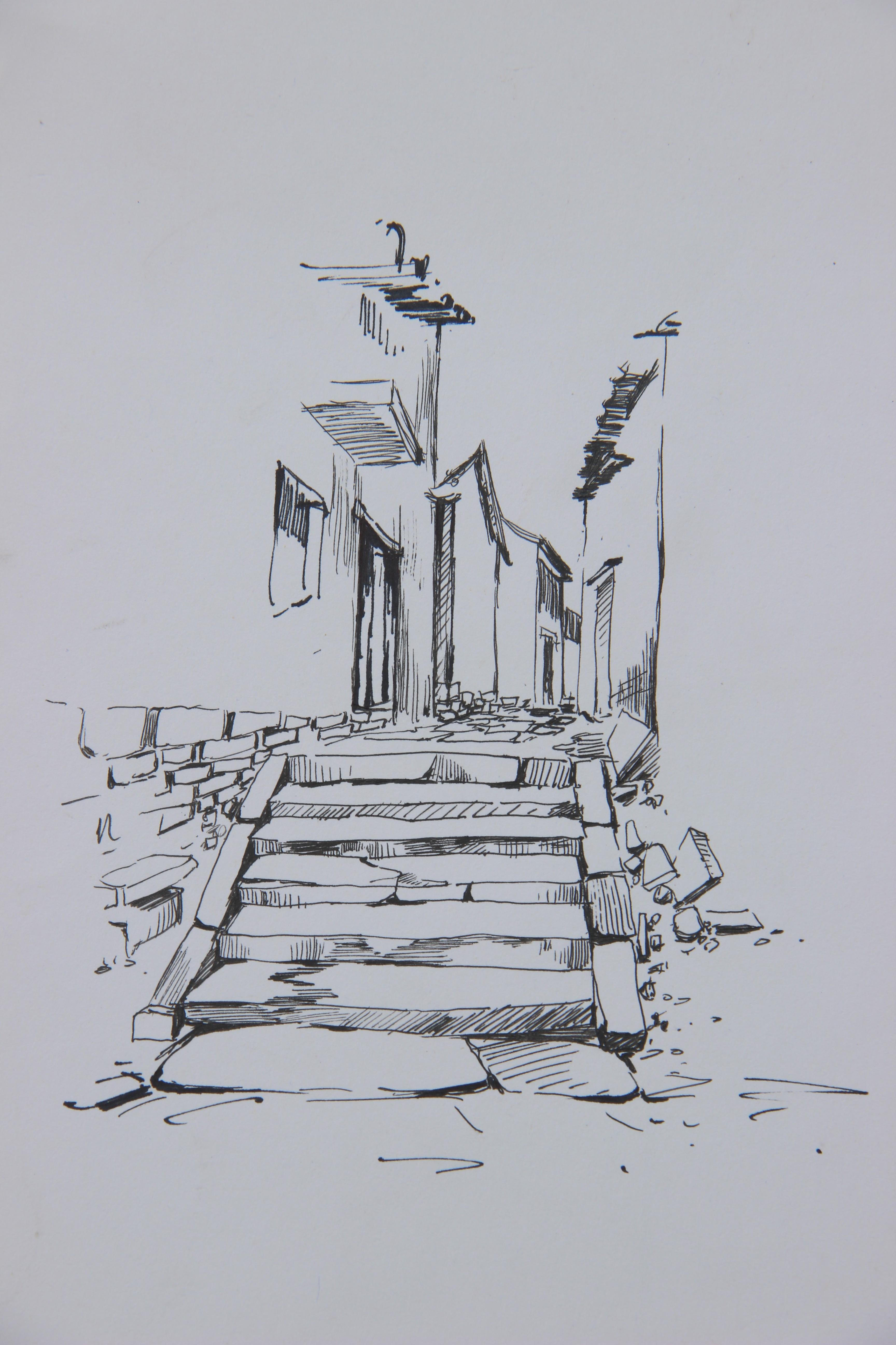 简单钢笔画人物_风景速写钢笔画图片_景观钢笔画