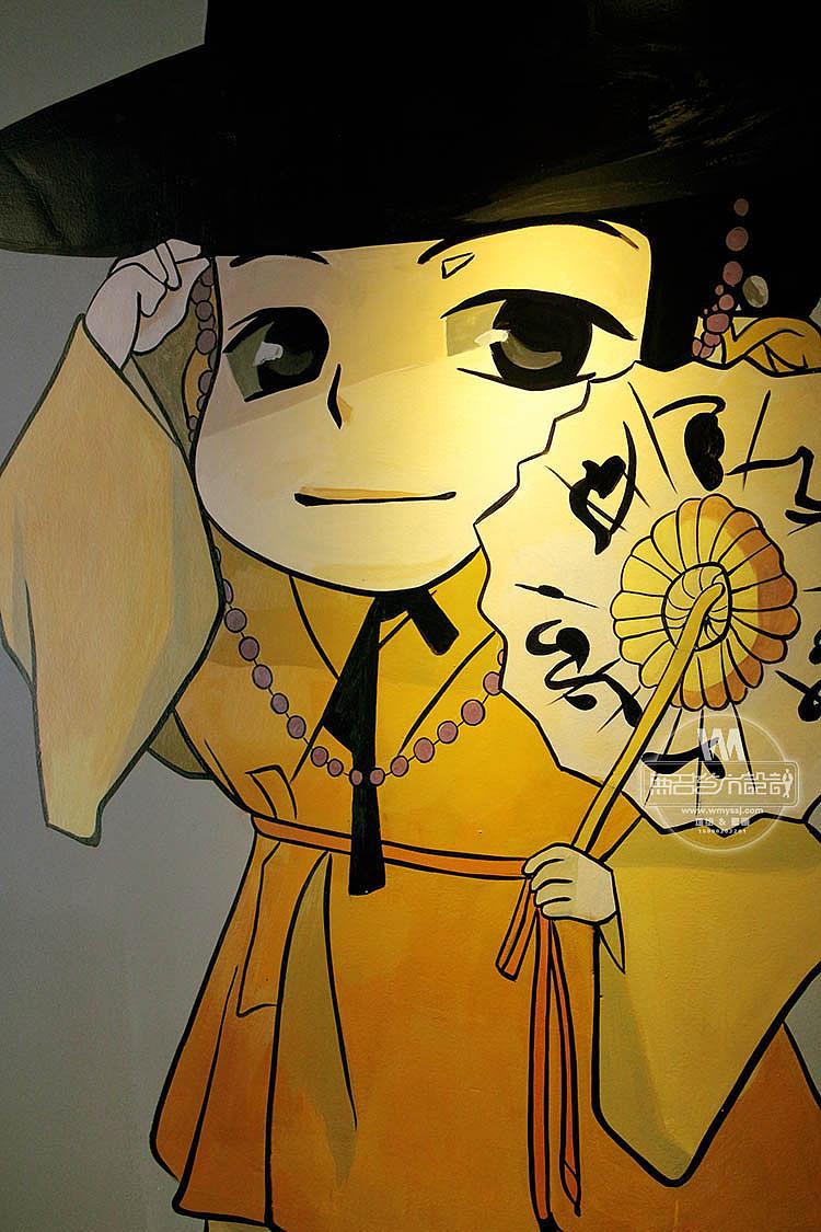 原创作品:南京釜山火炉韩式烧烤店墙面绘制,烧烤店墙绘,餐饮墙绘图片