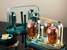 电商摄影 家用复古风格倒置杯架 金属制品