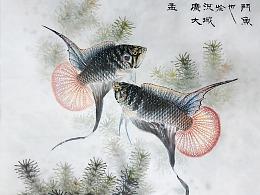 国画斗鱼《圆尾》