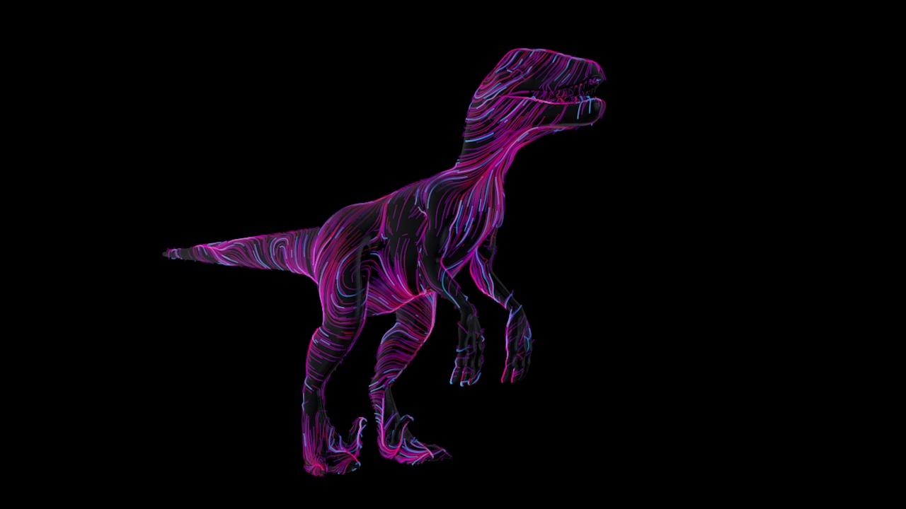 恐龙 滑板 手绘线条