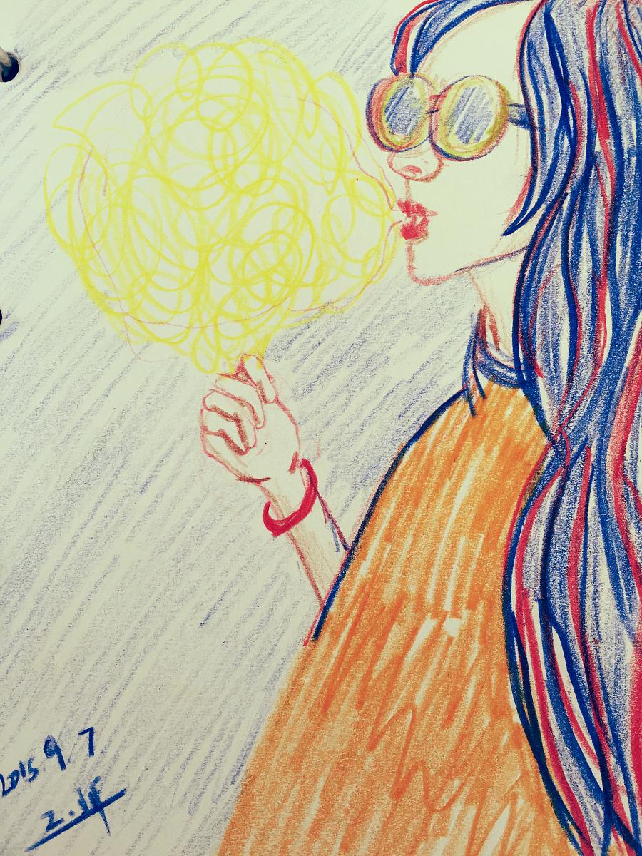 手绘彩铅—《吃棉花糖就像吃太阳》