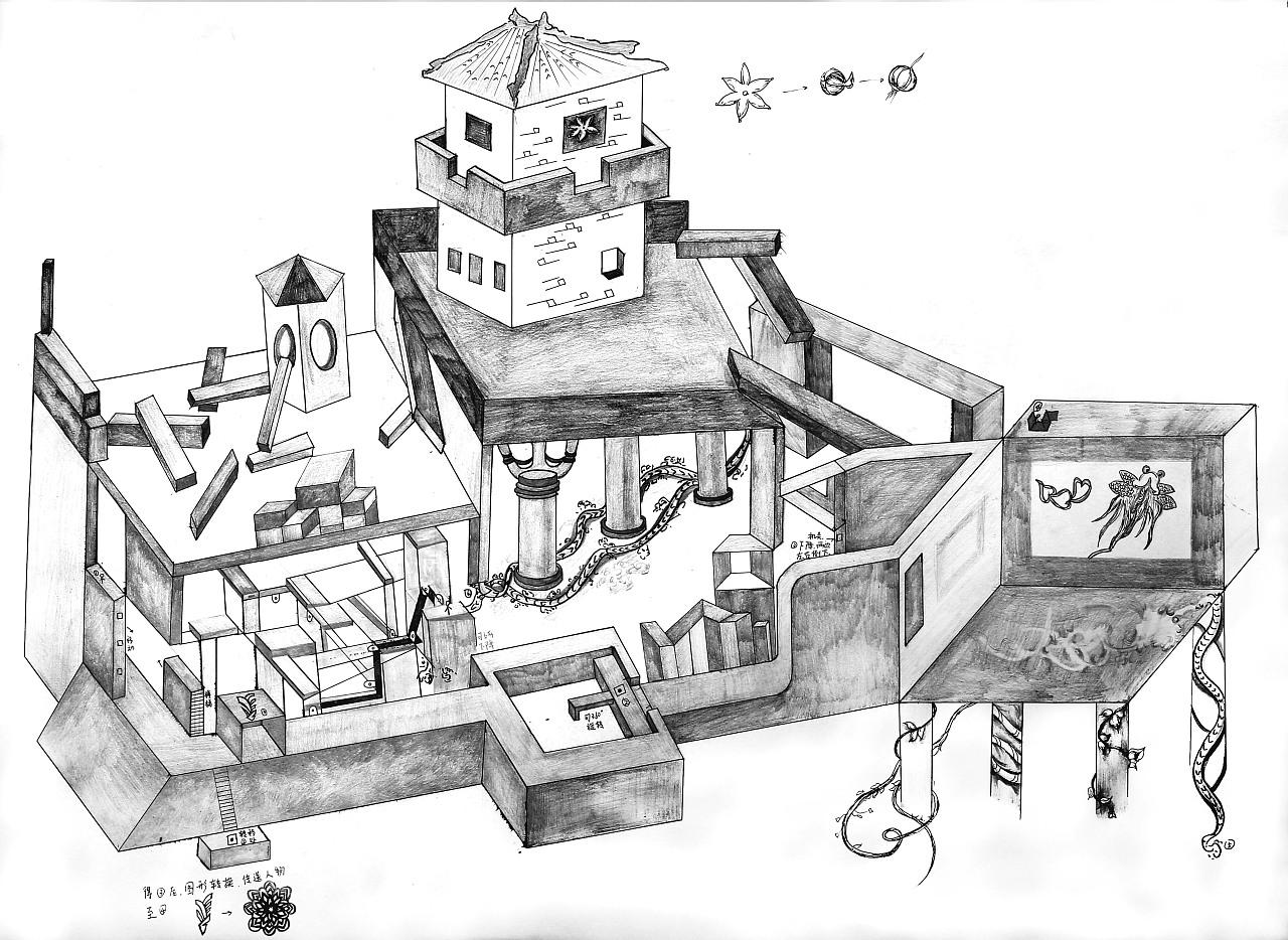 原创手绘简笔房屋