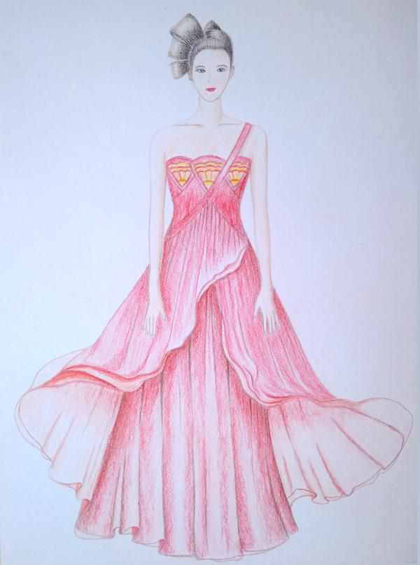 服装画-手绘彩铅-礼服
