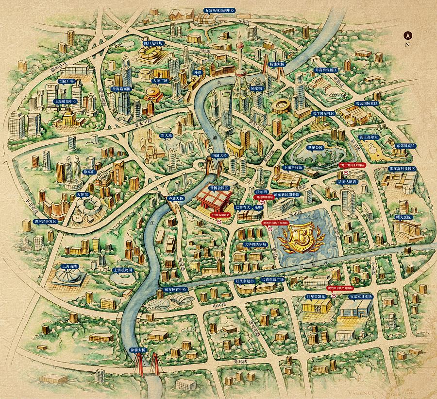 上海房地产项目地图(纯手绘制)