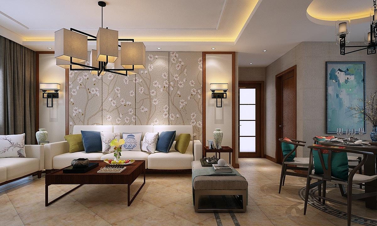 保利花园115㎡三室两厅新中式装修效果图