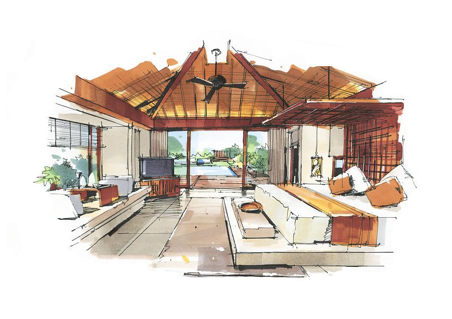 室内马克笔手绘|室内设计|空间/建筑|尚贤