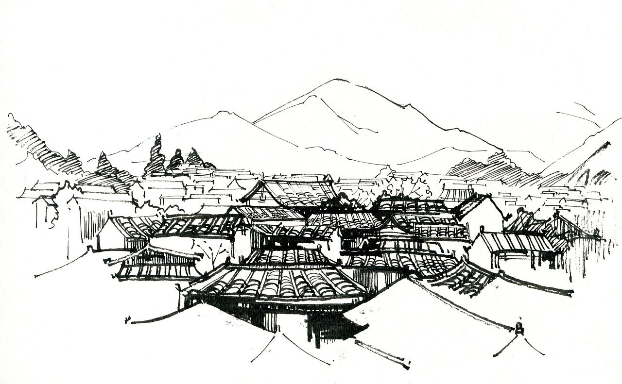 丽江古城临摹照片
