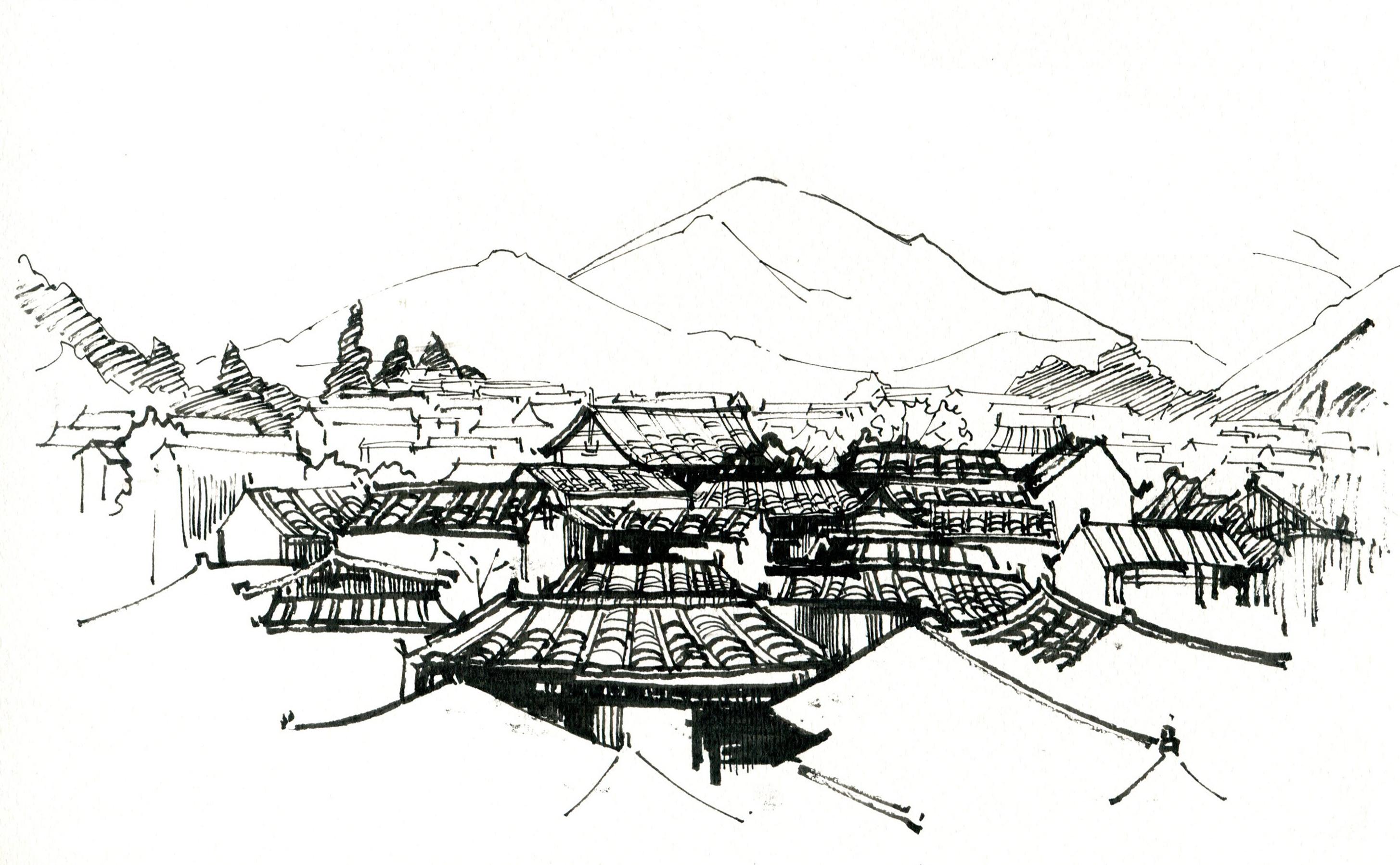 丽江古城临摹照片图片