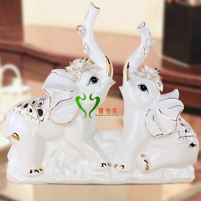 欧式奢华办公桌书房 陶瓷大象连体摆件|人物/生物