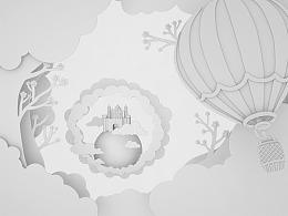 C4D剪纸风练习:探险