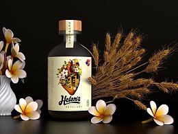 古一设计海伦司酒馆 年轻时尚的青梅酒威士忌酒标设计