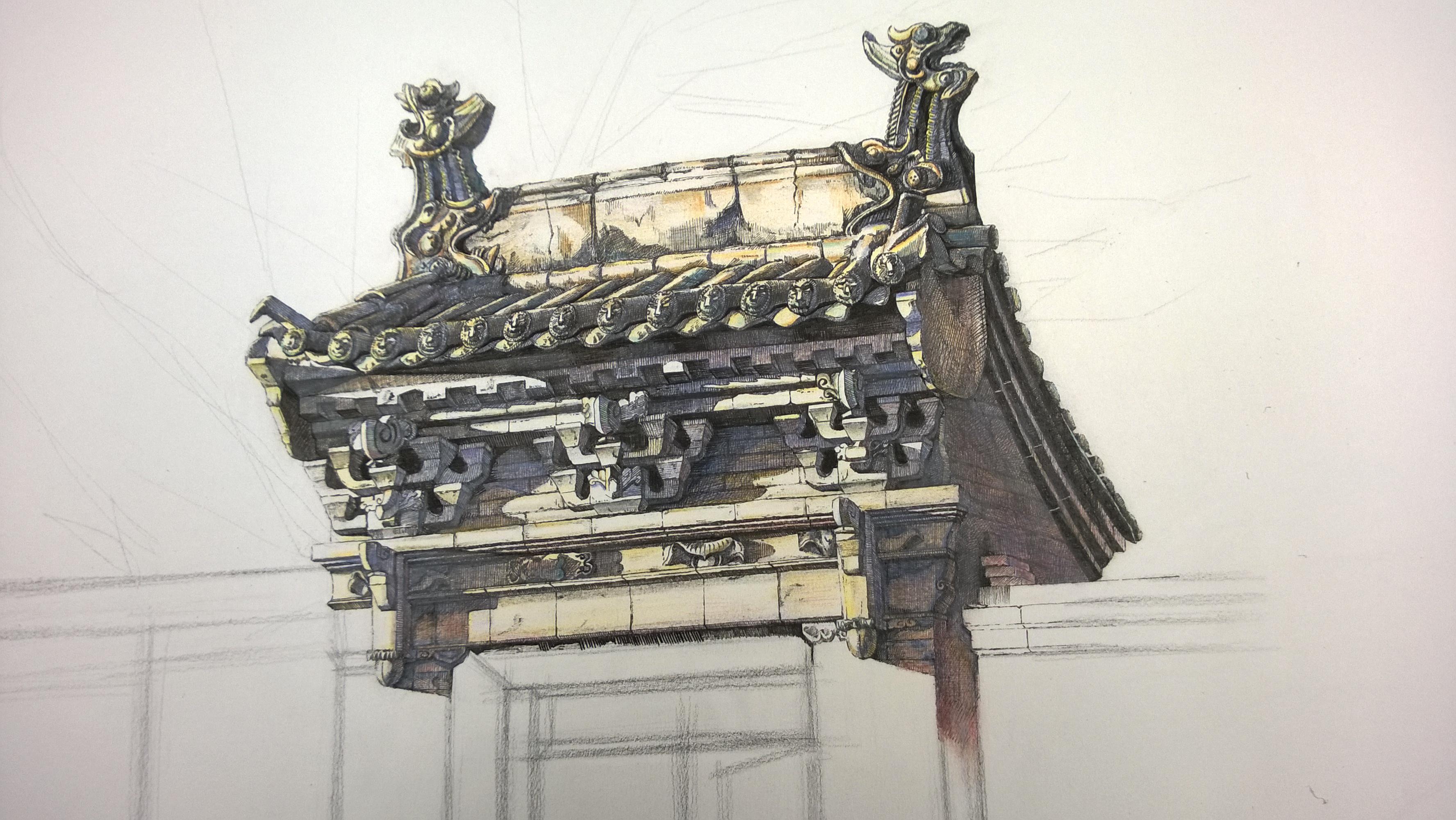古建筑|纯艺术|钢笔画|咸鱼的姿势 - 原创作品 - 站酷