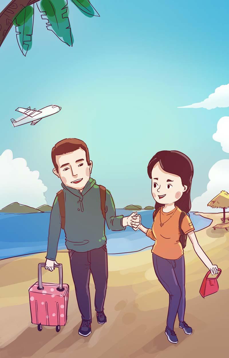 情人节一起去度假旅行吧!~|单幅漫画|动漫|一轮鬼才君漫画图片