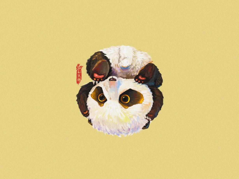 每日一画,可爱小熊猫一枚.