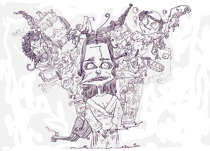 这张叫《百鬼图》灵感来自于日本动漫中的可怜妖怪形象,都是一些不凶